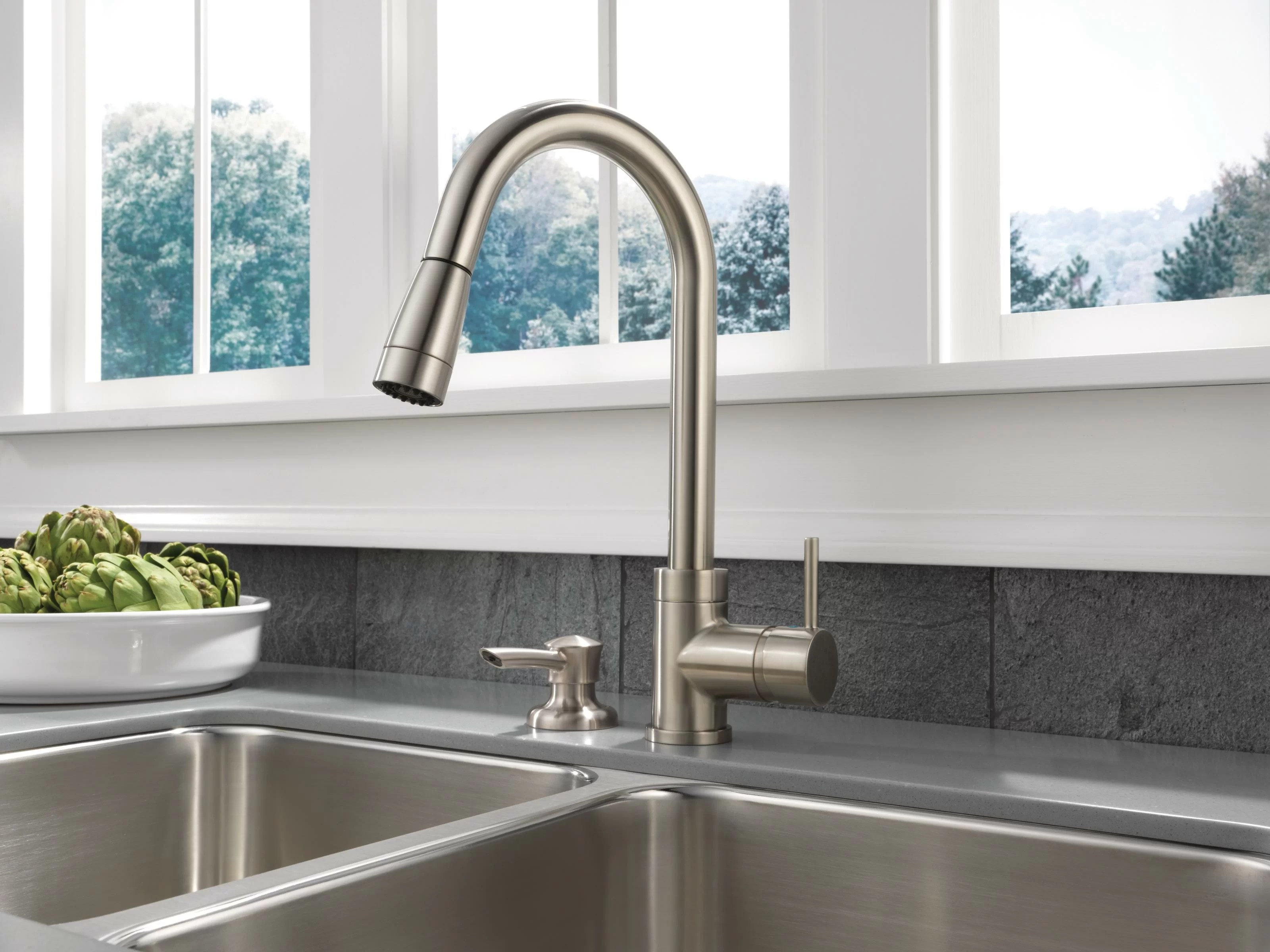 delta apex integrated pull down single handle kitchen faucet with soap dispenser reviews wayfair
