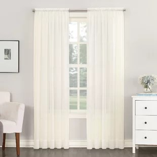 emily solid color sheer rod pocket curtains