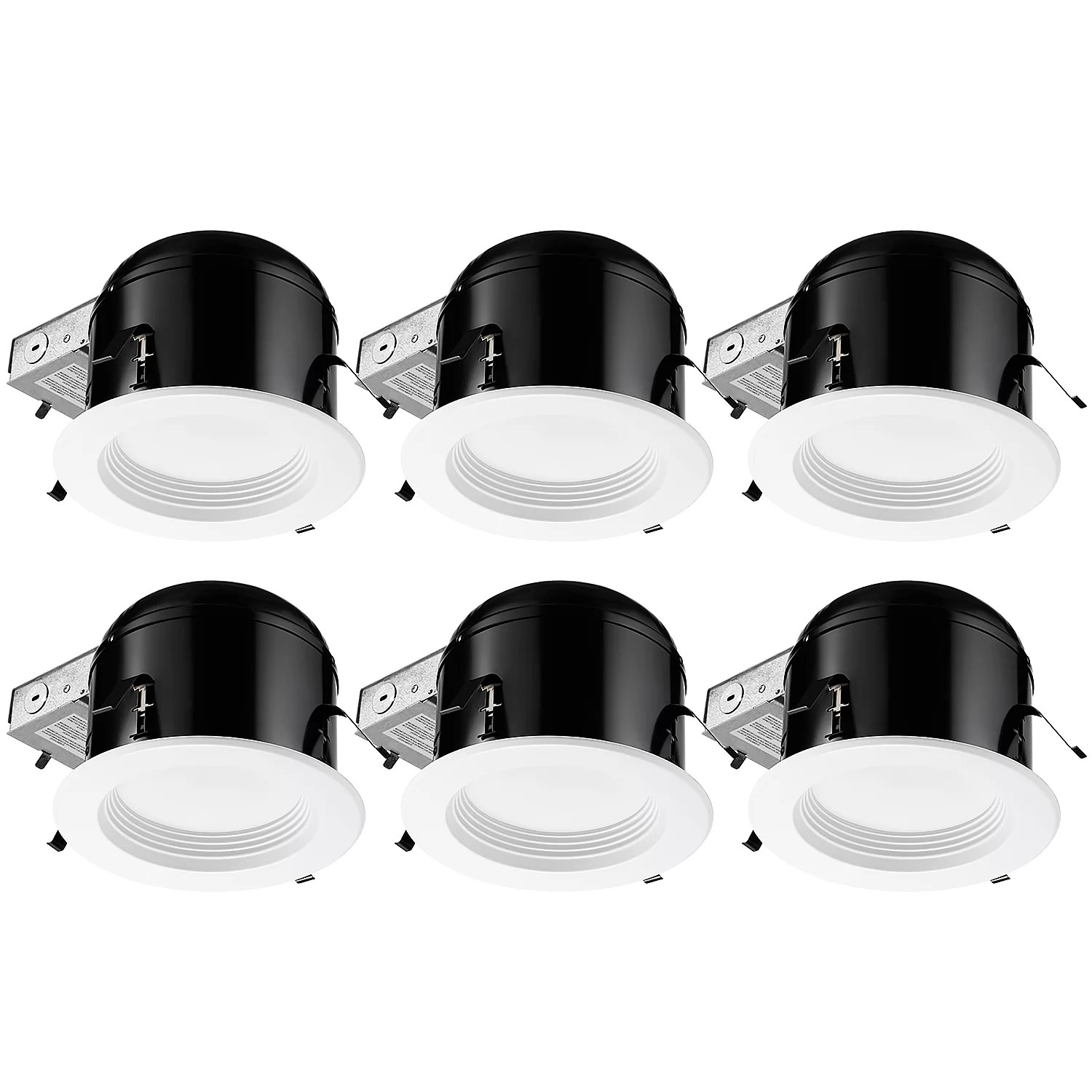 6 3000k remodel or new construction ic led recessed lighting kit