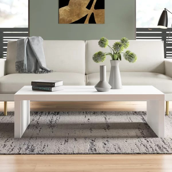 modern contemporary white lacquer coffee table