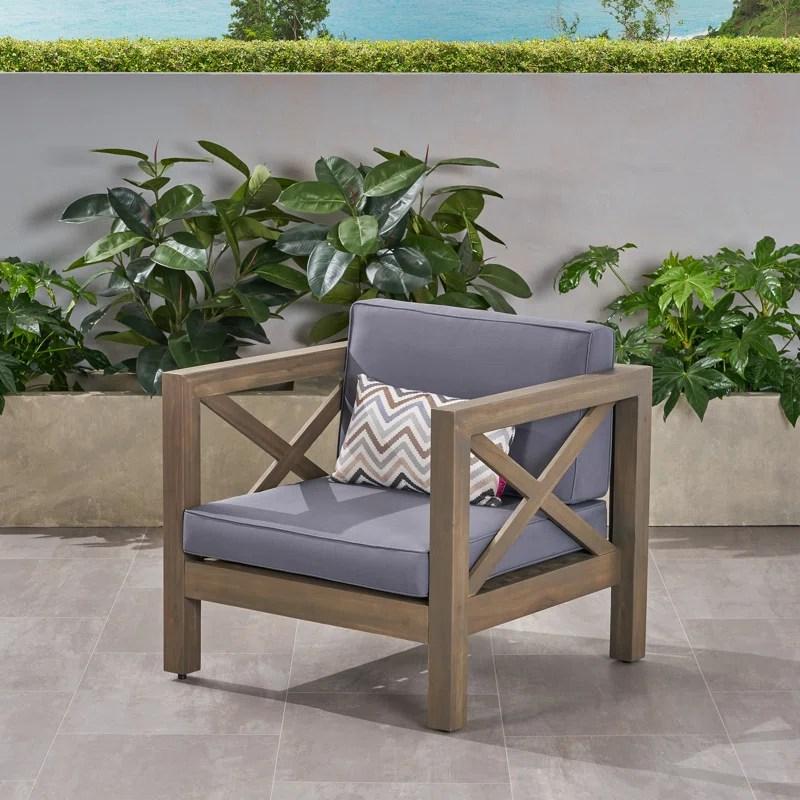 Highland Dunes Damico Outdoor Club Patio Chair With Cushions Reviews Wayfair Ca