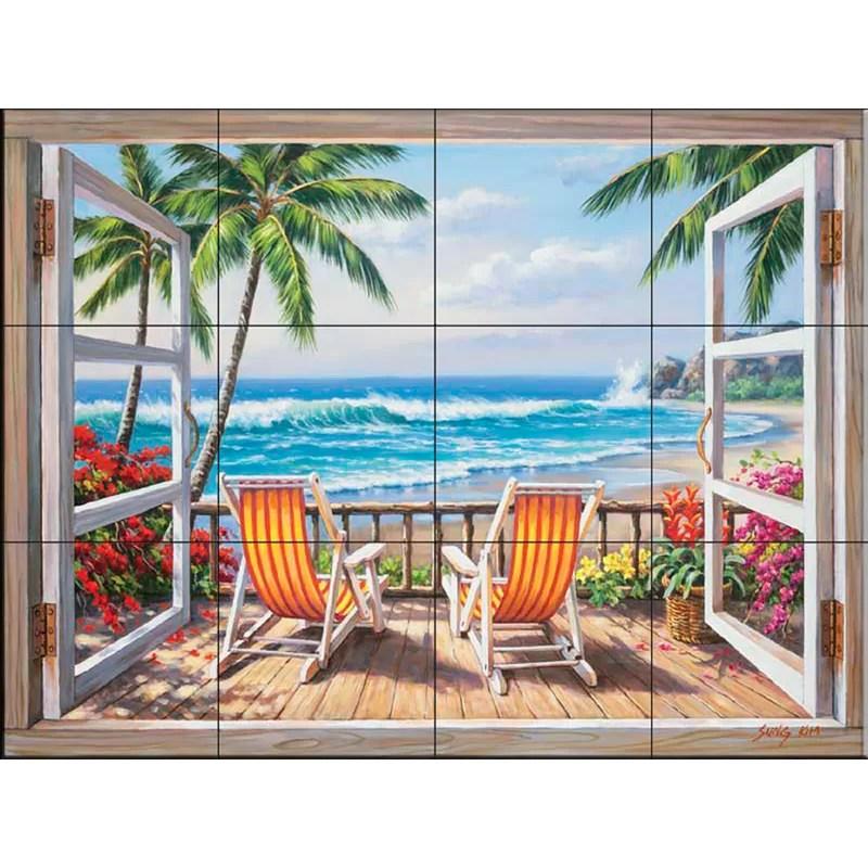 12 75 x 17 ceramic tropical terrace decorative mural tile in blue