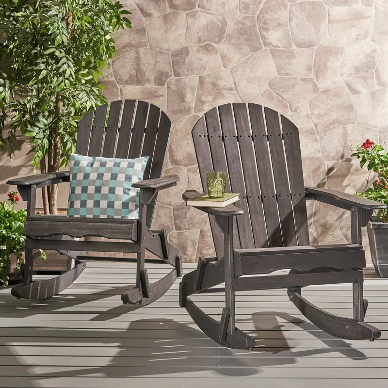Crossen Solid Wood Rocking Adirondack Chair (Set of 2)