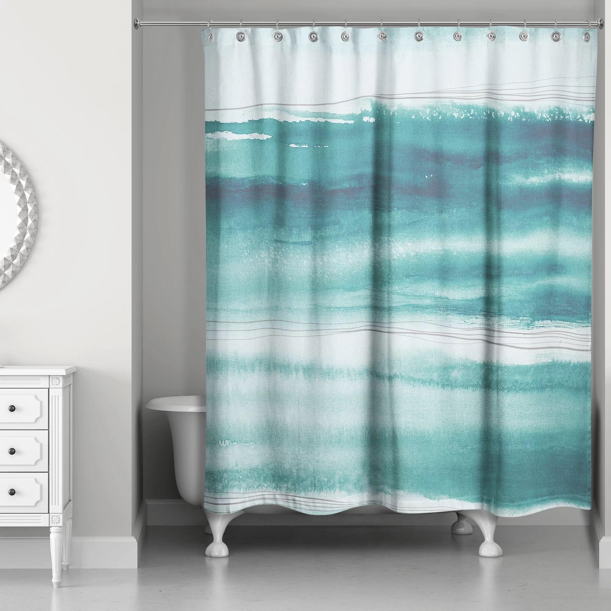 sherri abstract watercolor ocean single shower curtain