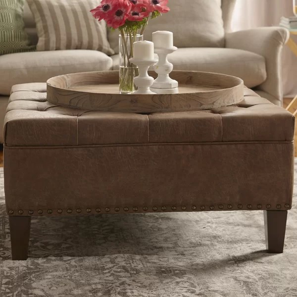 big square leather ottoman