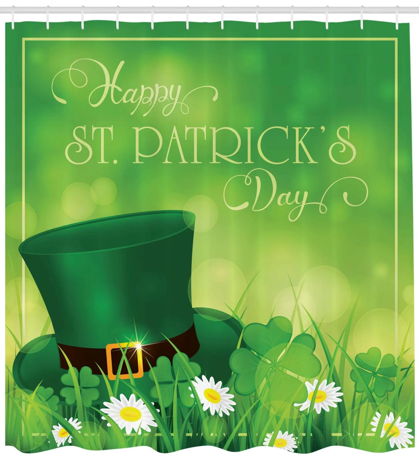 st patrick s day happy greetings for cultural day religion shamrock daisy and leprechaun hat single shower curtain