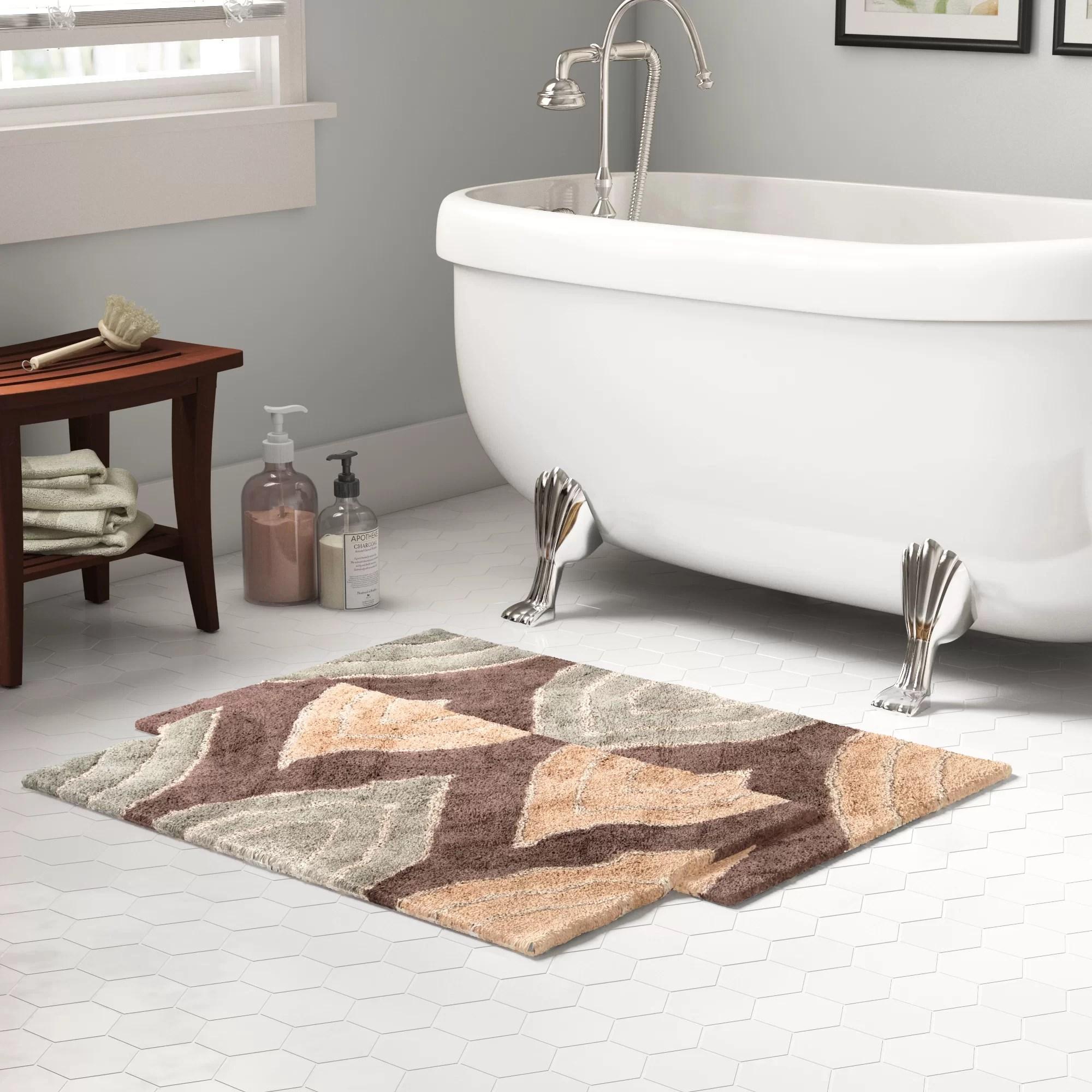 steadman rectangular 100 cotton non slip geometric 2 piece bath rug set