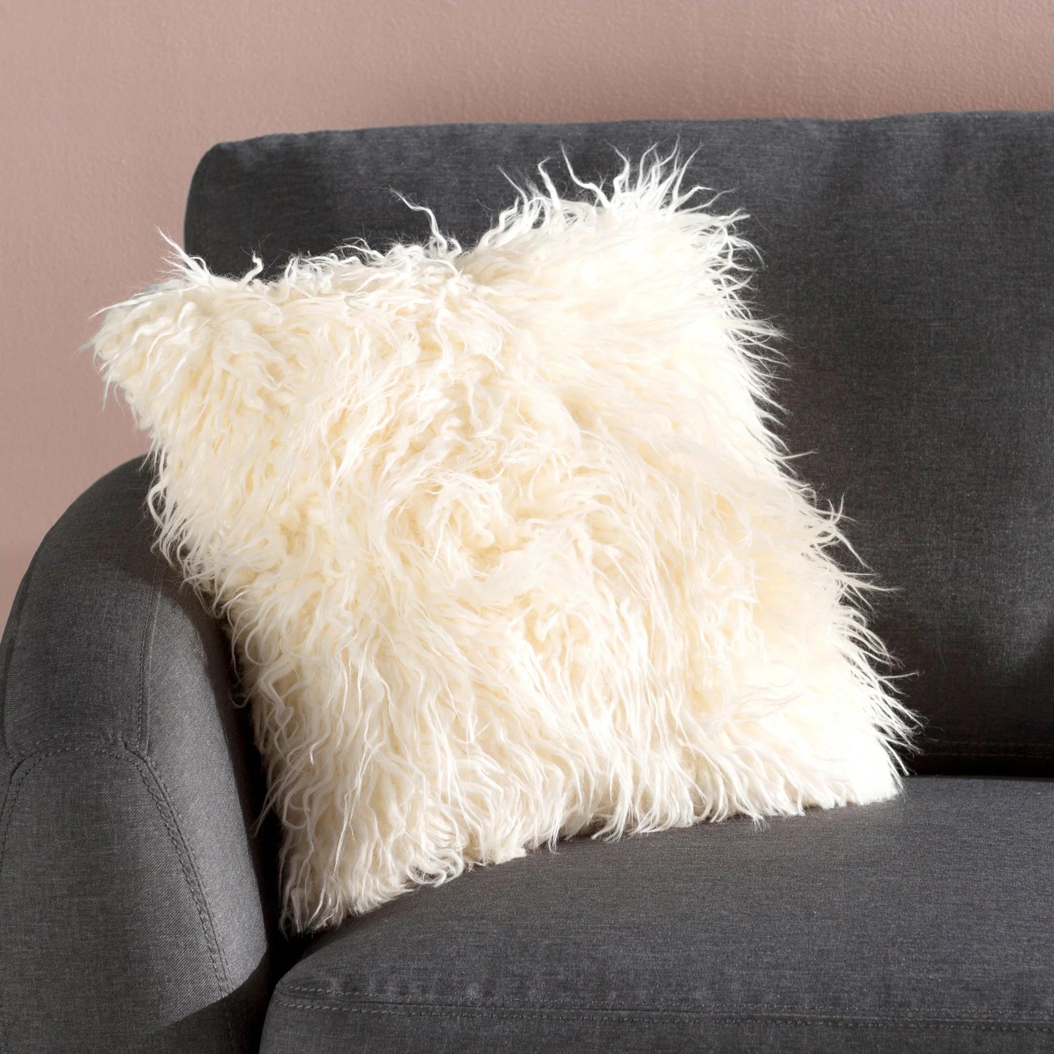 square faux fur pillow cover insert