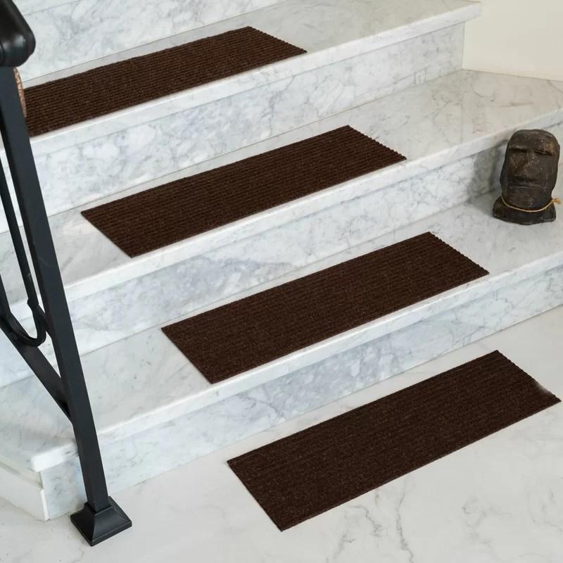 Tucker Murphy™ Pet Bayless Chocolate Stair Tread Reviews Wayfair | Wayfair Carpet Stair Treads | Tucker Murphy | Carpet Runners | Oaks Godinez | Stair Railing | Beige Carpet