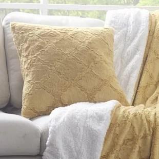 maryetta diamond trellis faux fur throw pillow cover