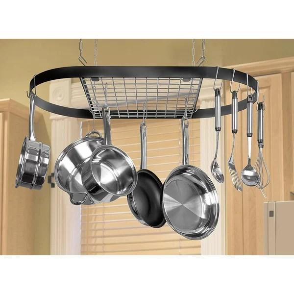 classicor wrought iron hanging oval pot rack
