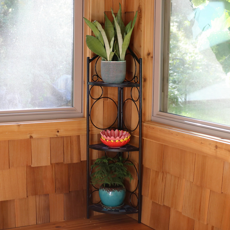 Fleur De Lis Living Louth 3 Tier Mosaic Tiled Indoor Outdoor Corner Display Plant Stand Reviews Wayfair Ca