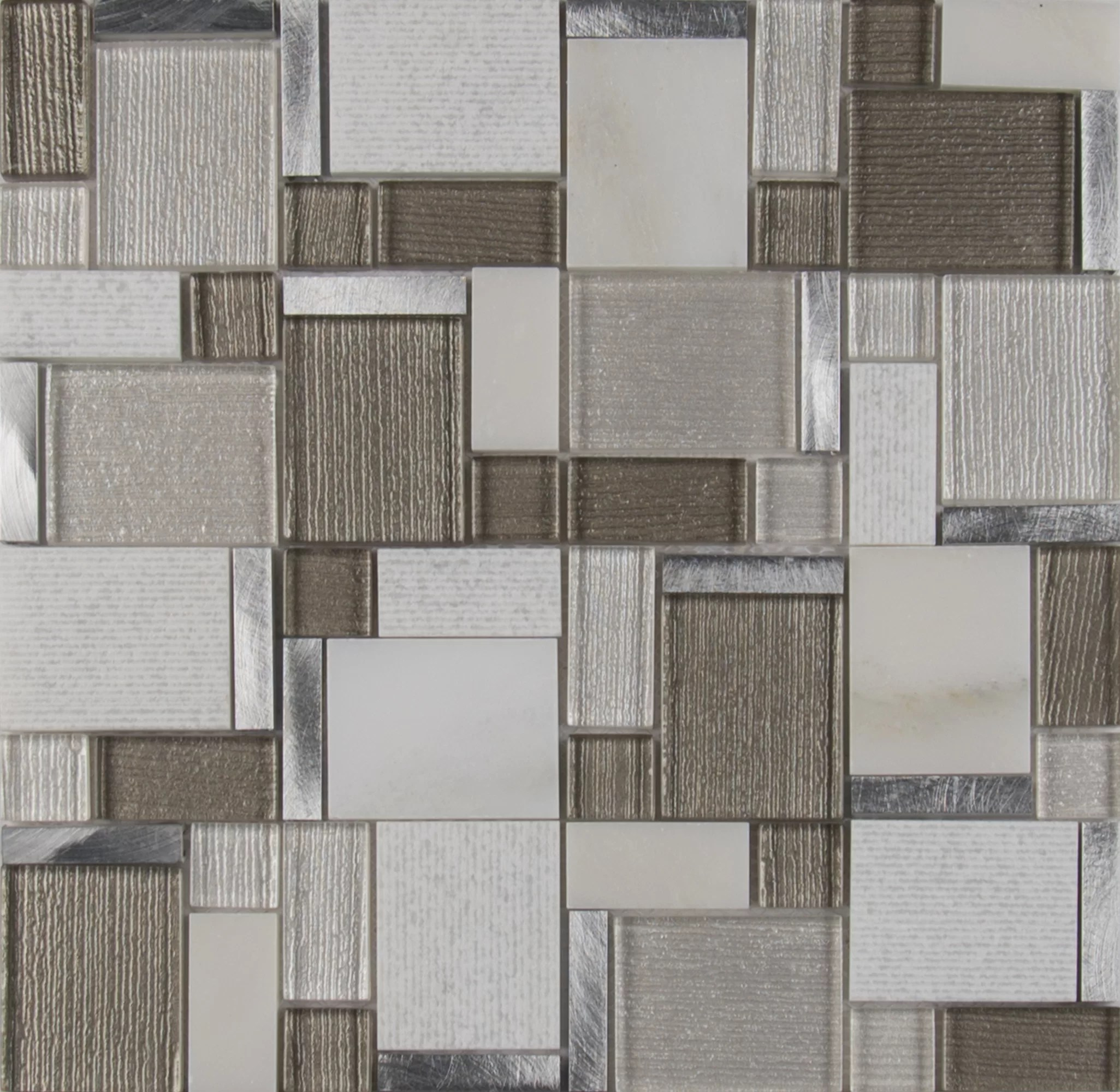 magica random sized glass stone mosaic tile in gray brown