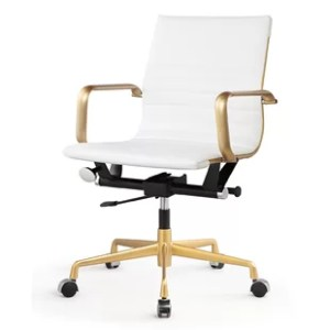Modern   Contemporary Brass Desk Chair   AllModern Vegan Leather Office Chair
