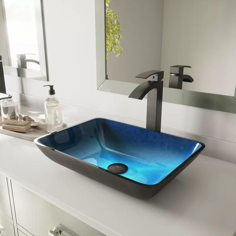 turquoise water glass handmade rectangular vessel bathroom sink