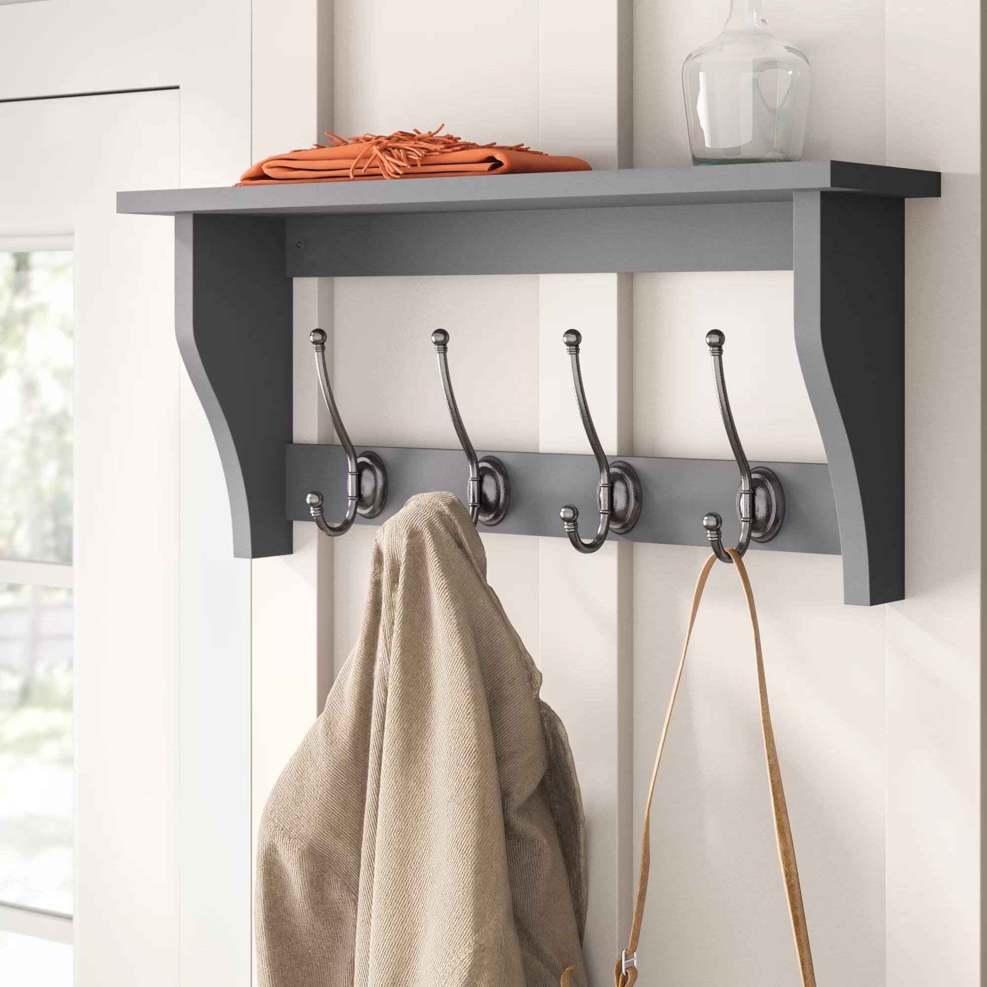lustig shelf with 4 coat hooks