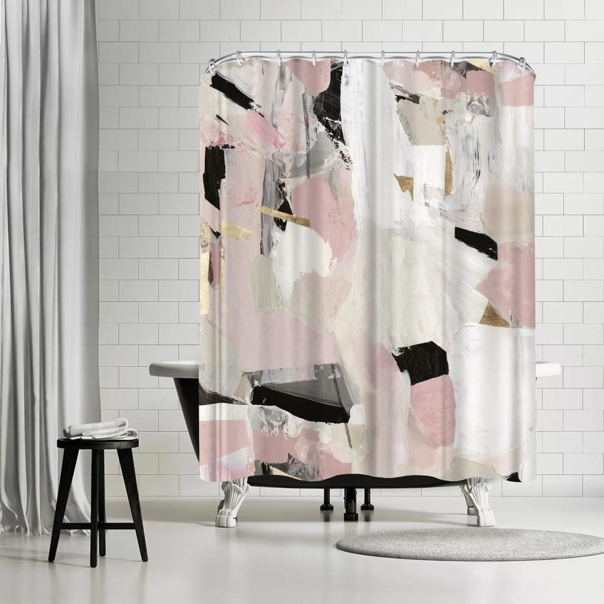 pi creative art black rose gold ii single shower curtain