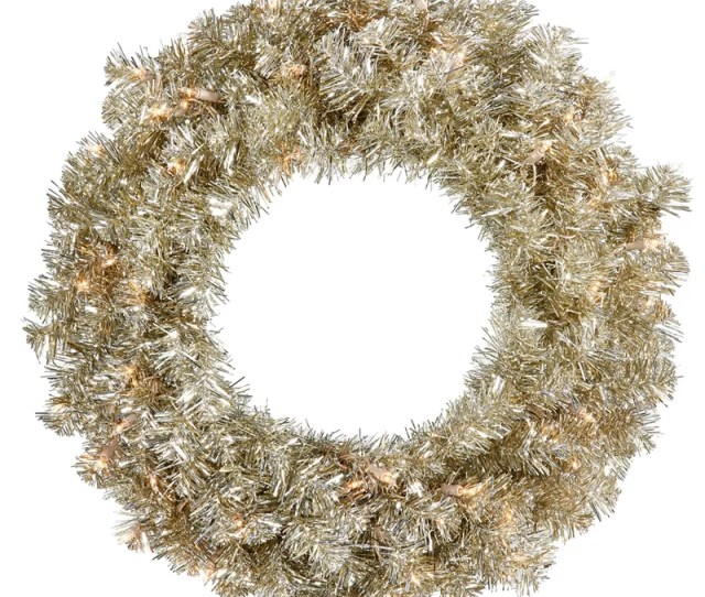 Lighted Artificial Sparkling Tinsel Christmas Wreath