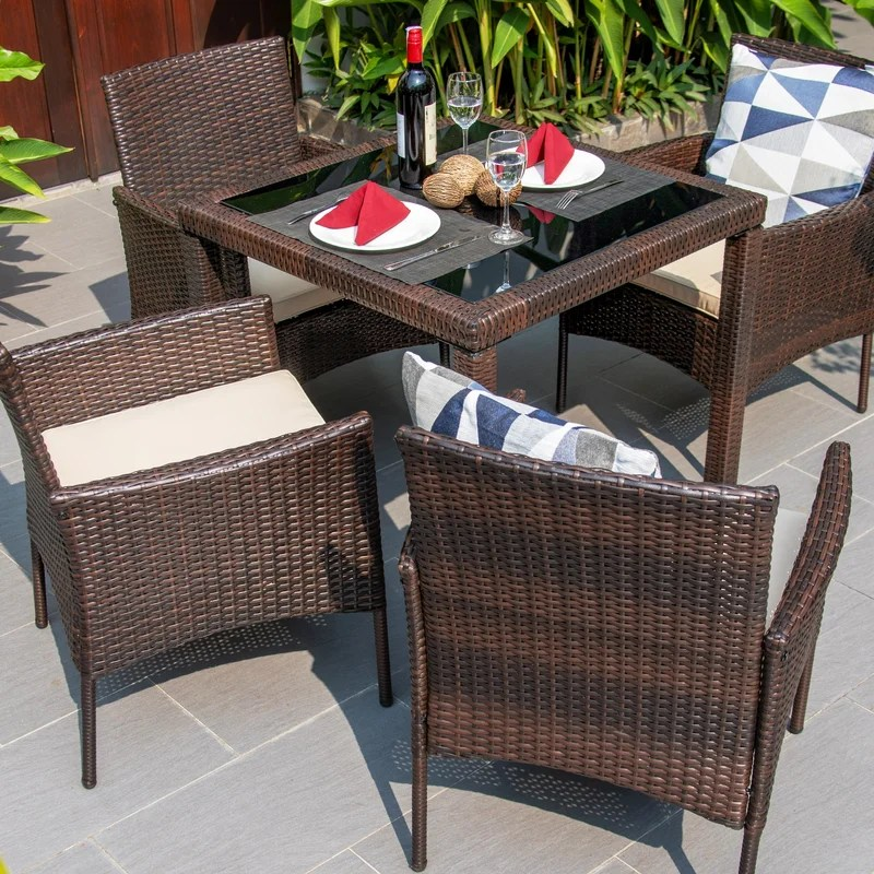 baidland square 4 person 31 5 long dining set with cushions