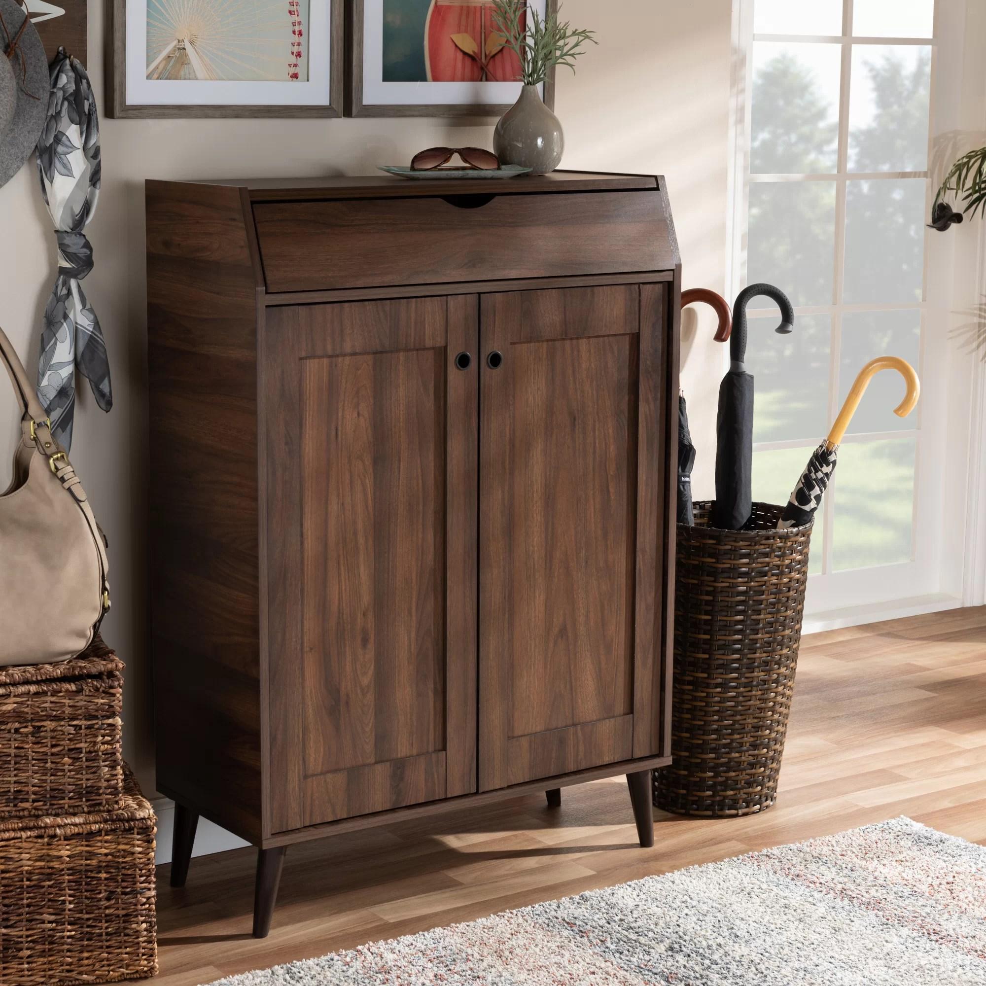 Cheap 2 Door Wood Entryway 10 Pair Shoe Storage Cabinet Furniture Online