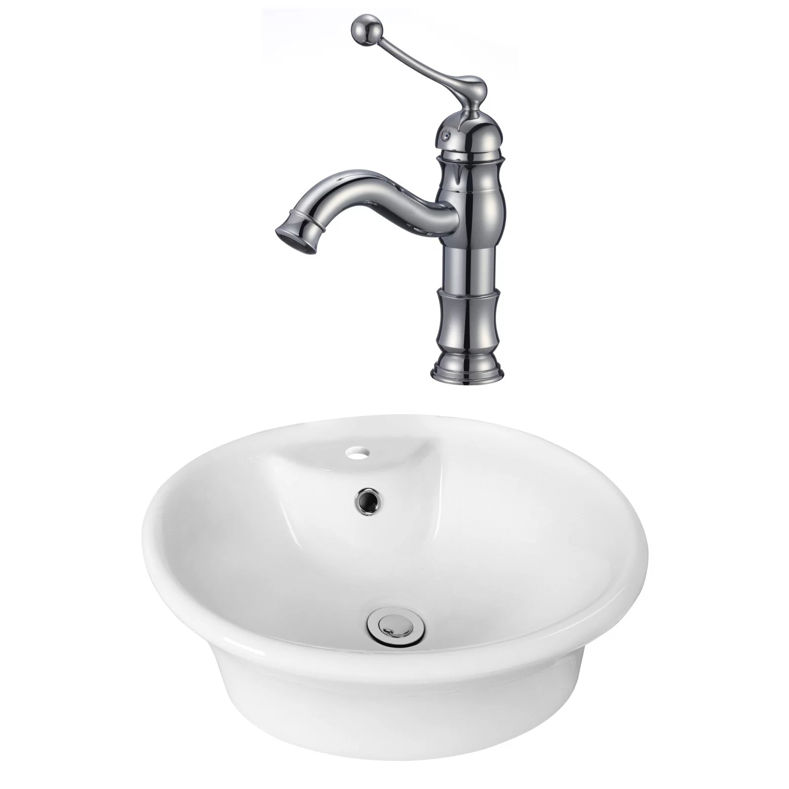xena farmhouse semi recessed ceramic rectangular vessel bathroom sink with faucet and overflow