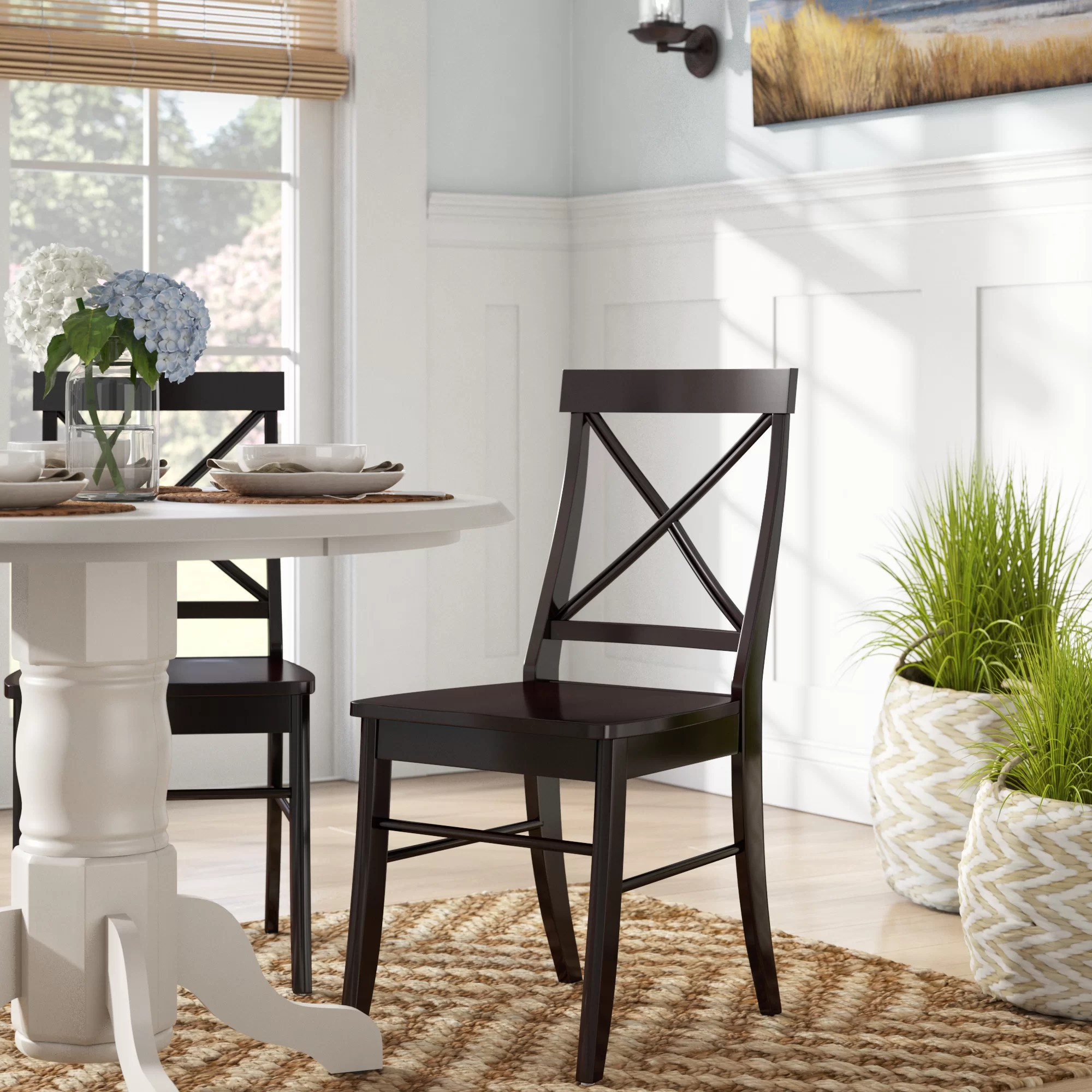 Beachcrest Home Melbourne Shores Solid Wood Cross Back Side Chair In Black Reviews