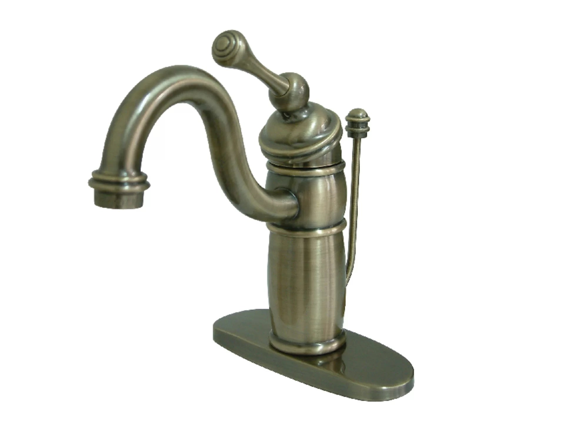 victorian mono deck bathroom faucet with brass pop up drain