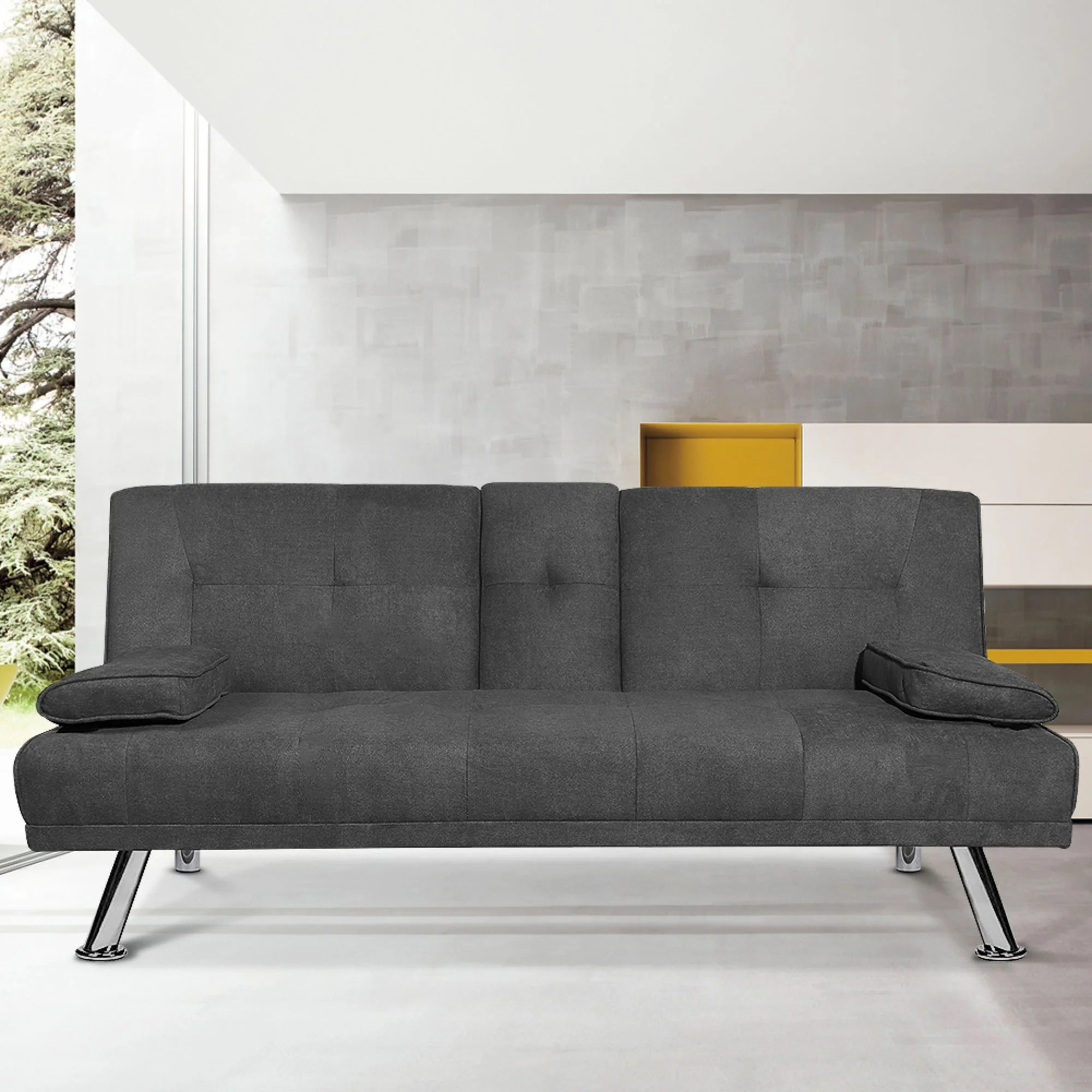 modern sofa bed convertible sectional sofa bed fold up and down recliner couch with cup holders armrest and metal legs sofa bed for living room
