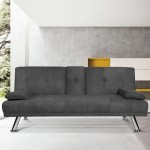 Orren Ellis Modern Sofa Bed Convertible Sectional Sofa Bed Fold Up And Down Recliner Couch With Cup Holders Armrest And Metal Legs Sofa Bed For Living Room Small Space Light Grey