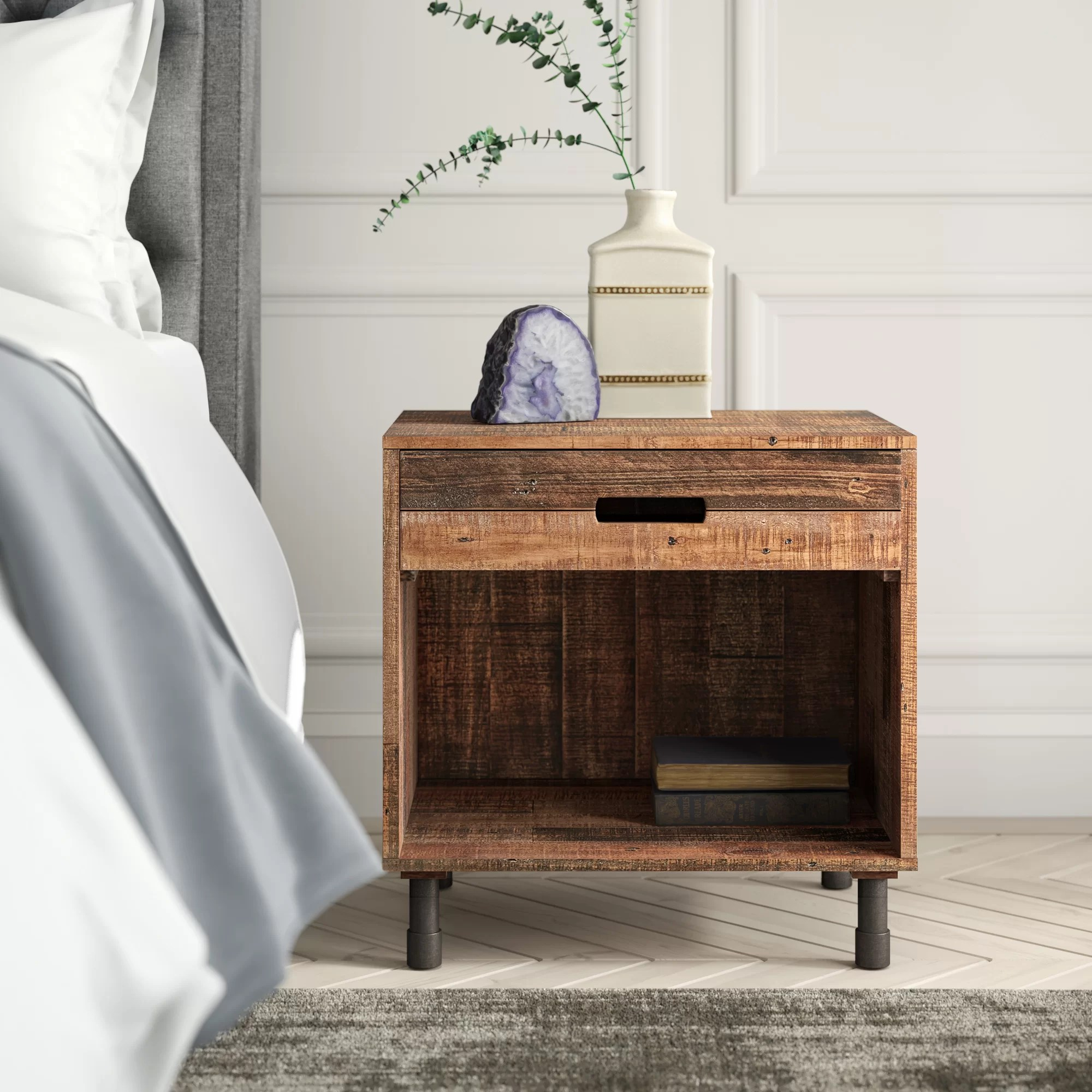 judsonia 1 drawer solid wood nightstand