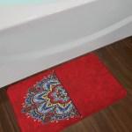 Ukranian Red Mandala Bath Rug