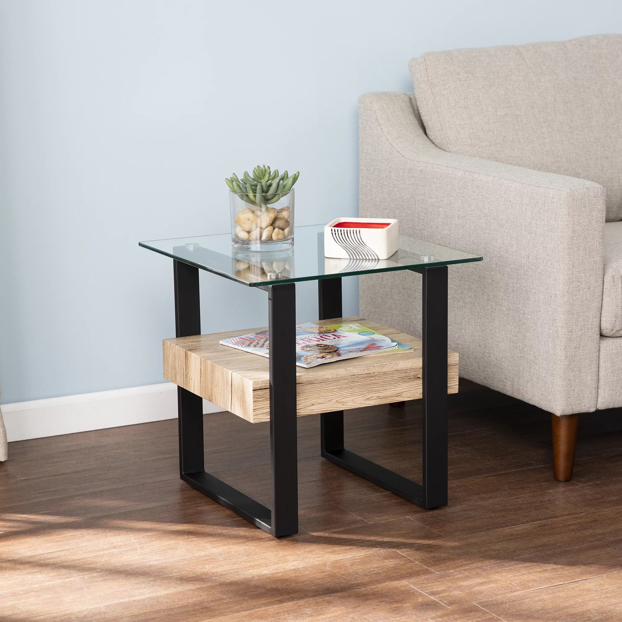 glass top sled end table with storage