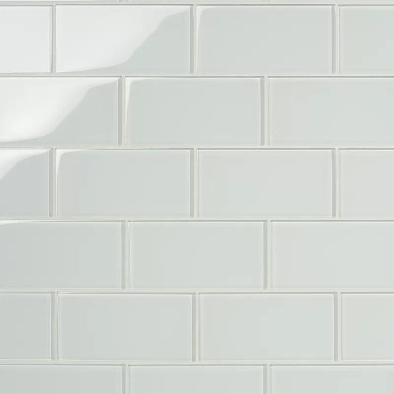 contempo 3 x 6 glass subway tile in white