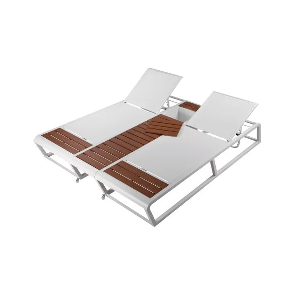 modern contemporary outdoor double chaise lounge