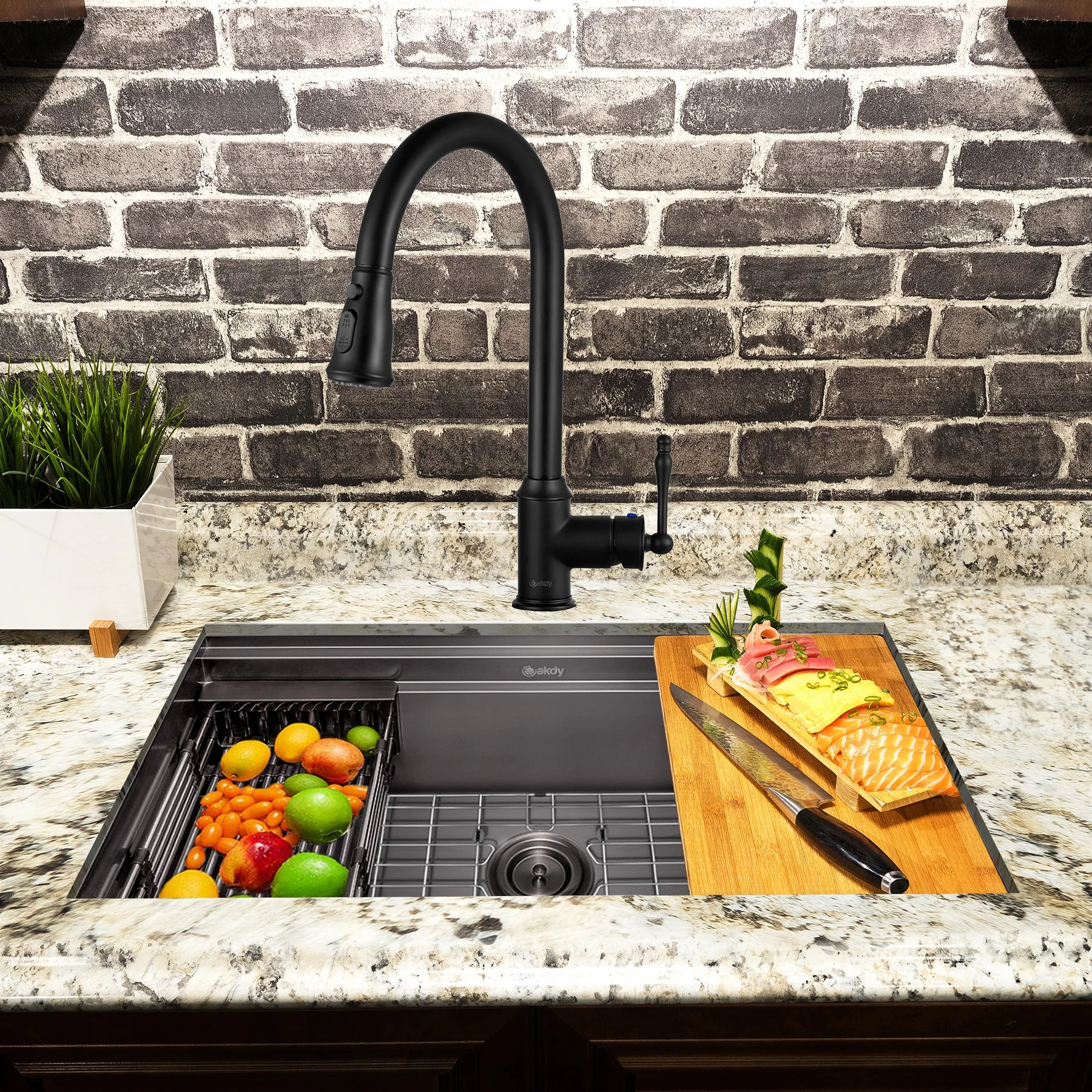 33 l x 22 w undermount kitchen sink with faucet
