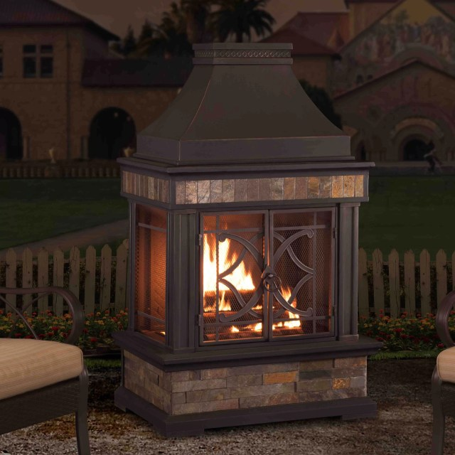 sunjoy heirloom steel wood burning outdoor fireplace & reviews | wayfair
