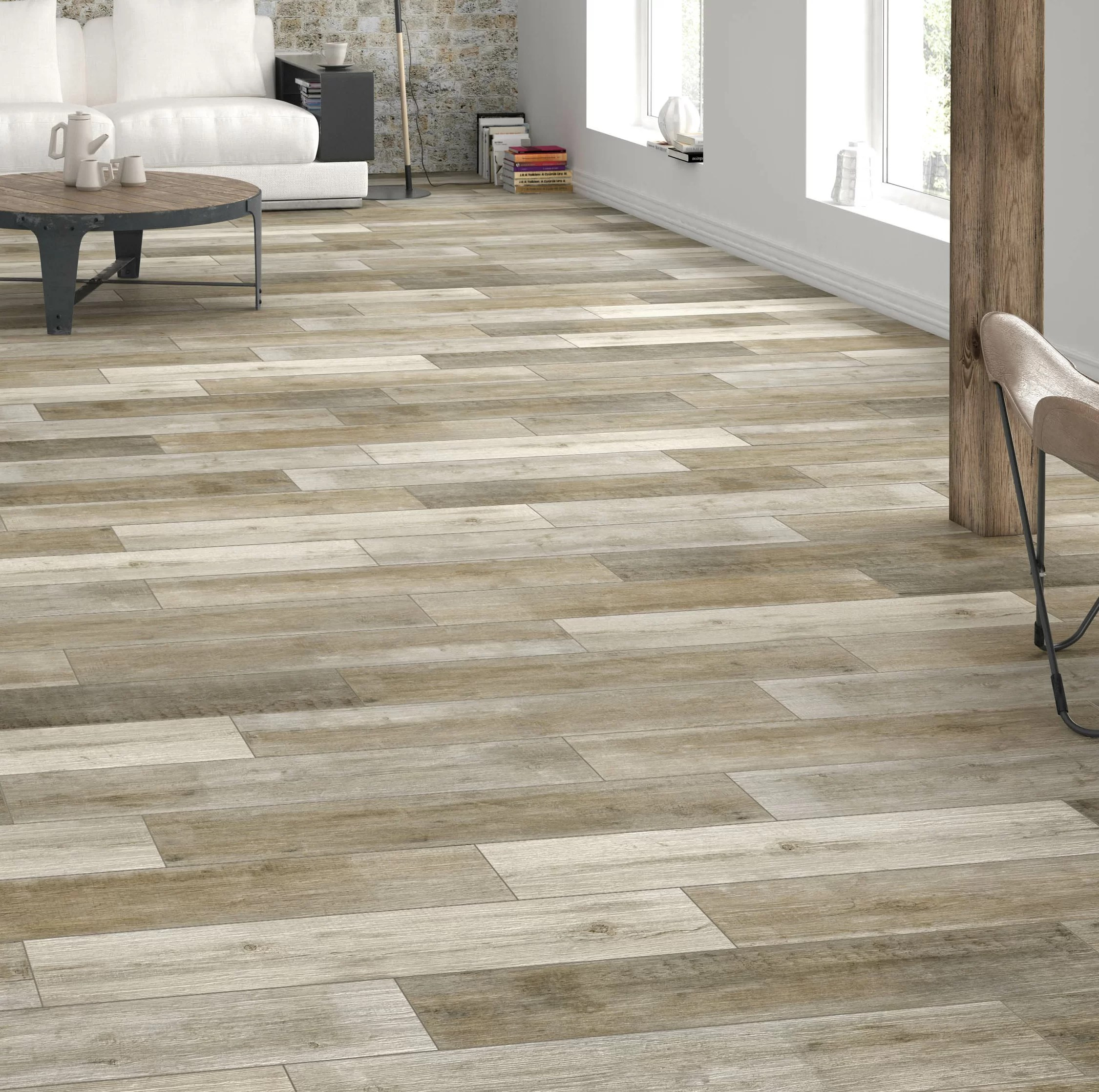 unde 6 x 36 porcelain wood look wall floor tile