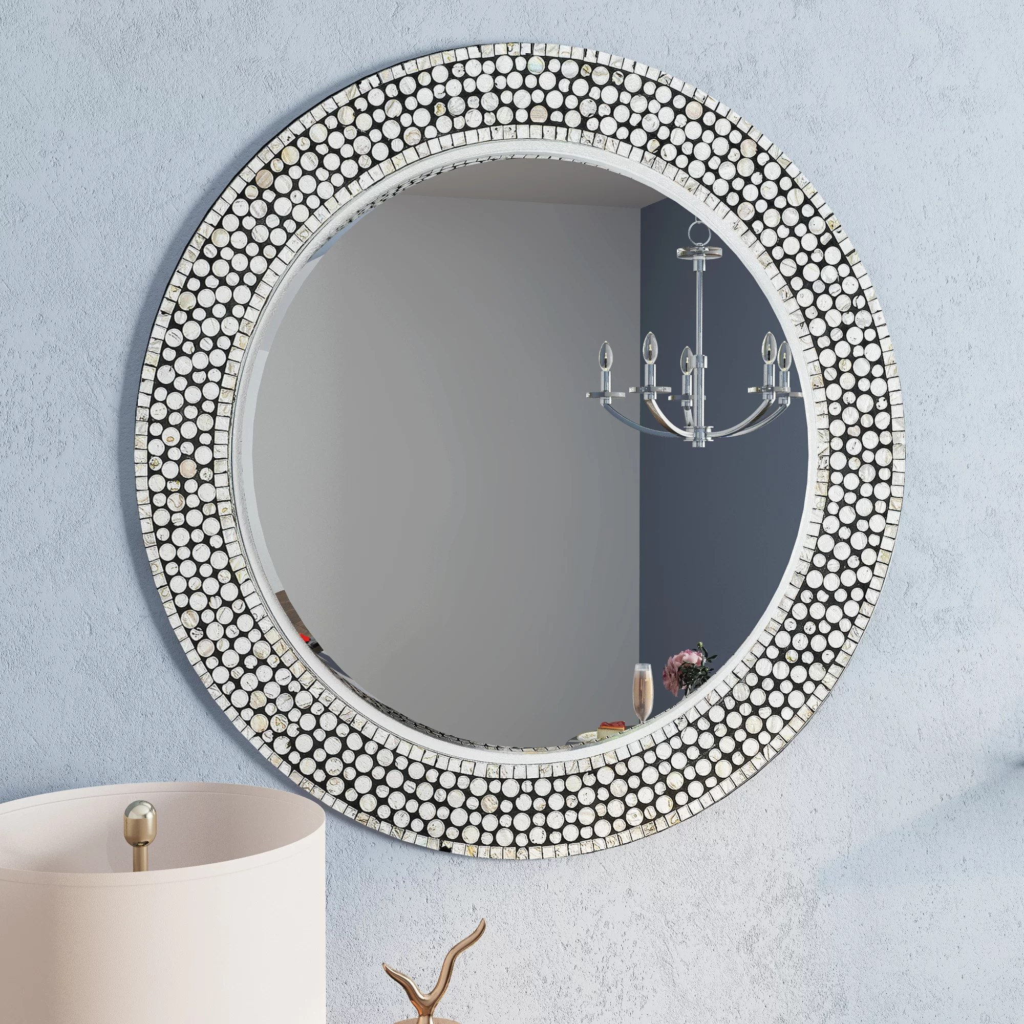 Willa Arlo Interiors Dhruv Round Gray Decorative Wall Mirror Wayfair