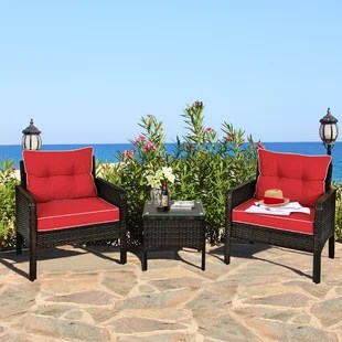 breakwater bay 3pcs patio outdoor rattan furniture set brown w cushioned chairs coffee table