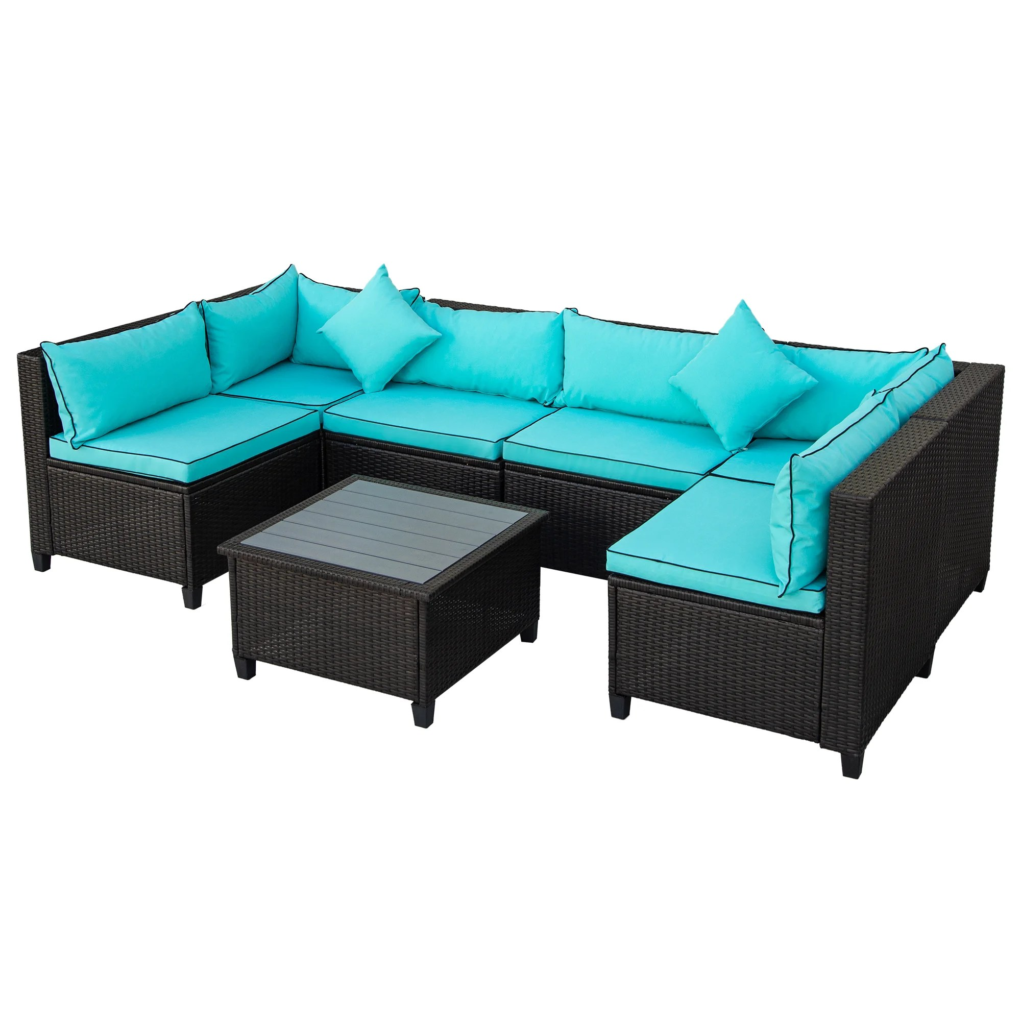 u shaped high quality rattan wicker patio kit u shaped cross section outdoor furniture kit with cushions and accent pillows