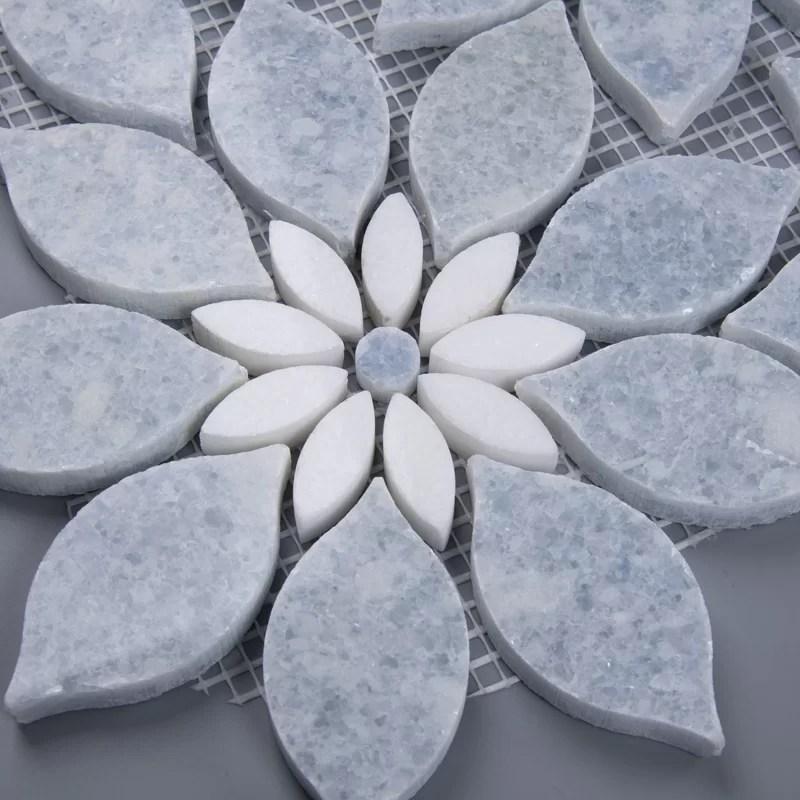floral 5 x 5 marble mosaic tile