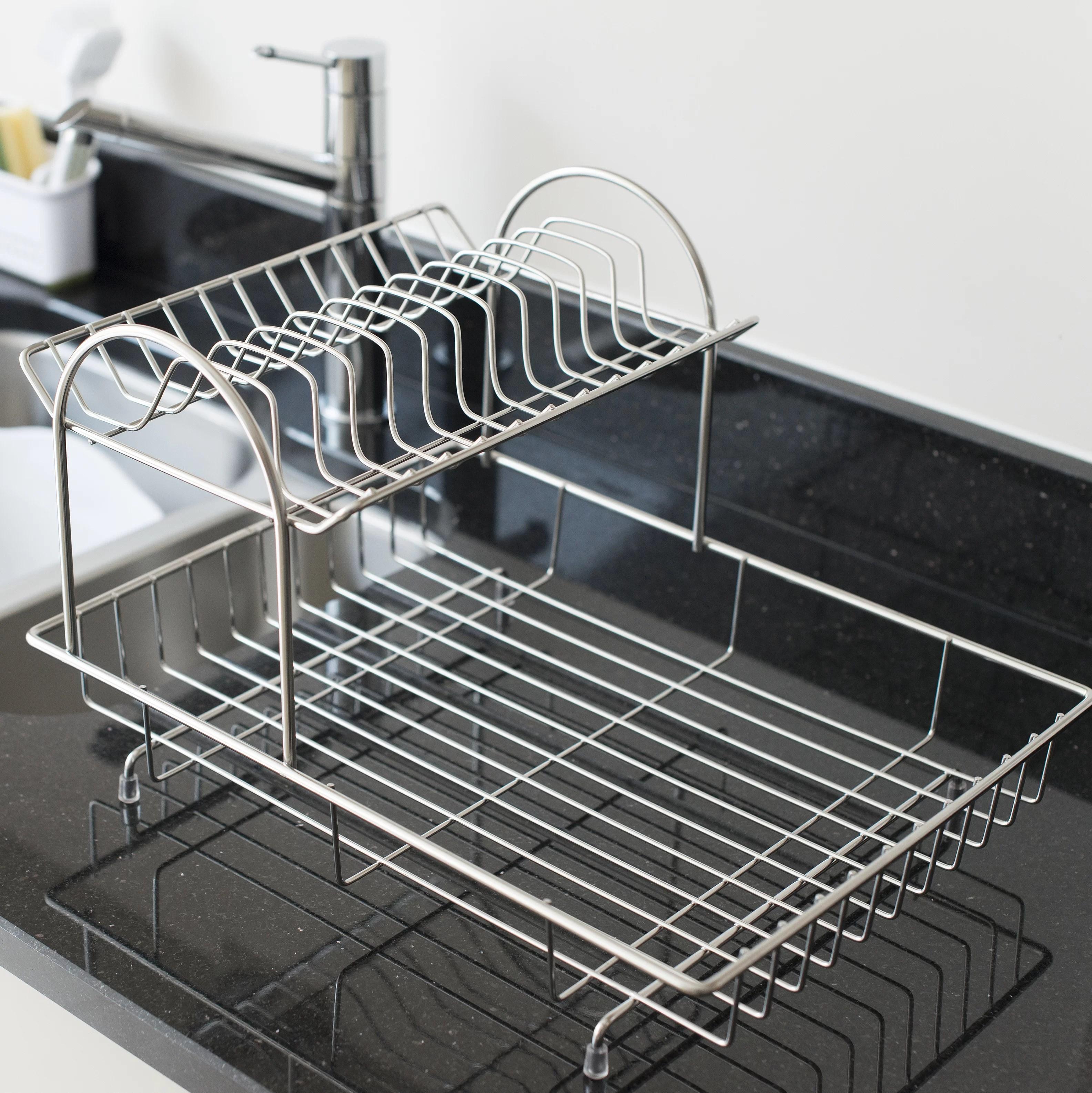 symple stuff 2 tier stainless steel dish rack reviews wayfair co uk