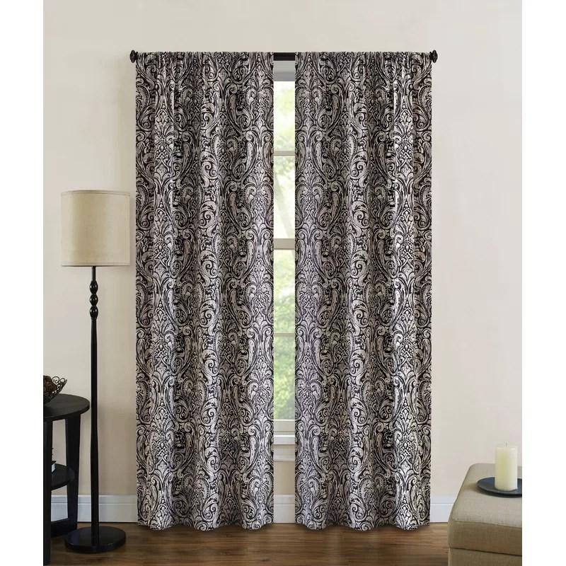 belsay damask semi sheer rod pocket curtain panels