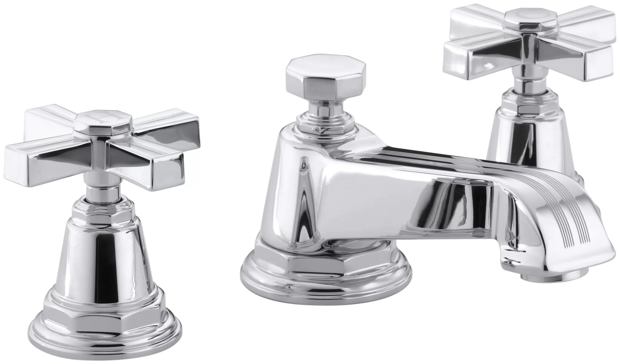 pinstripe widespread bathroom faucet with cross handles