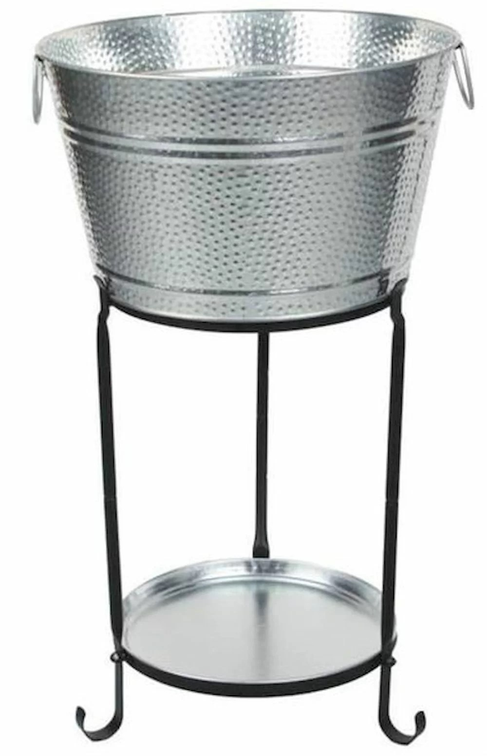 Darby Home Co Ulyana Galvanized Round Party Beverage Tub With Stand And Round Tray Wayfair