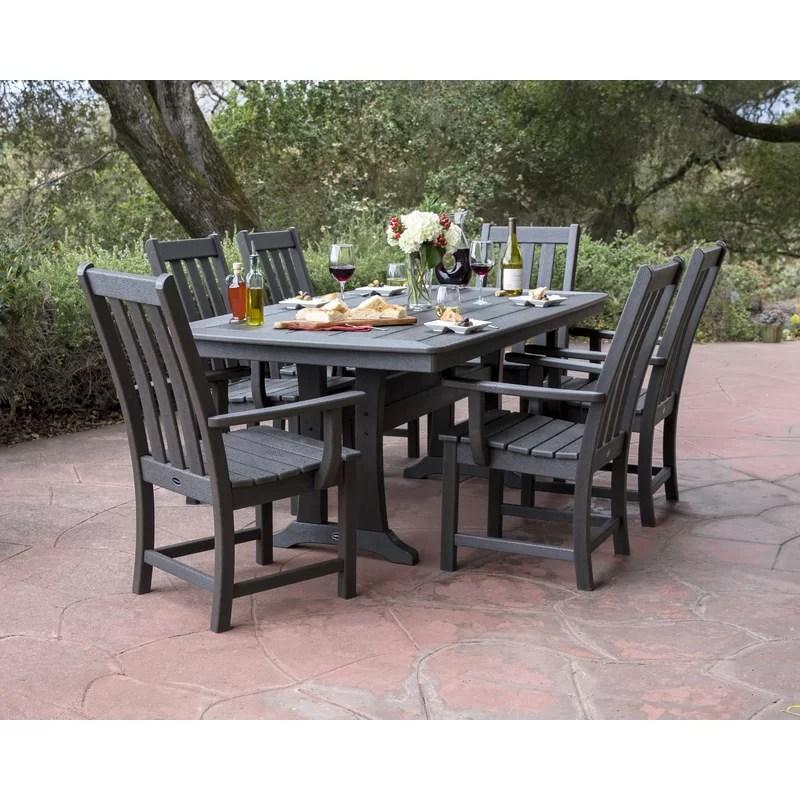 vineyard rectangular 6 person 38 5 long dining set