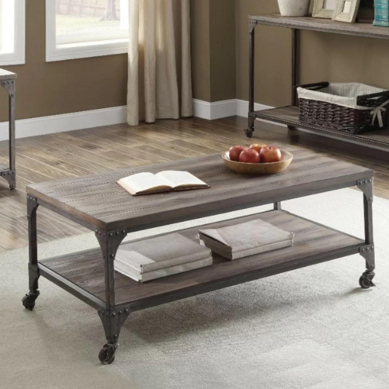 camas industrial rectangular wood and metal coffee table