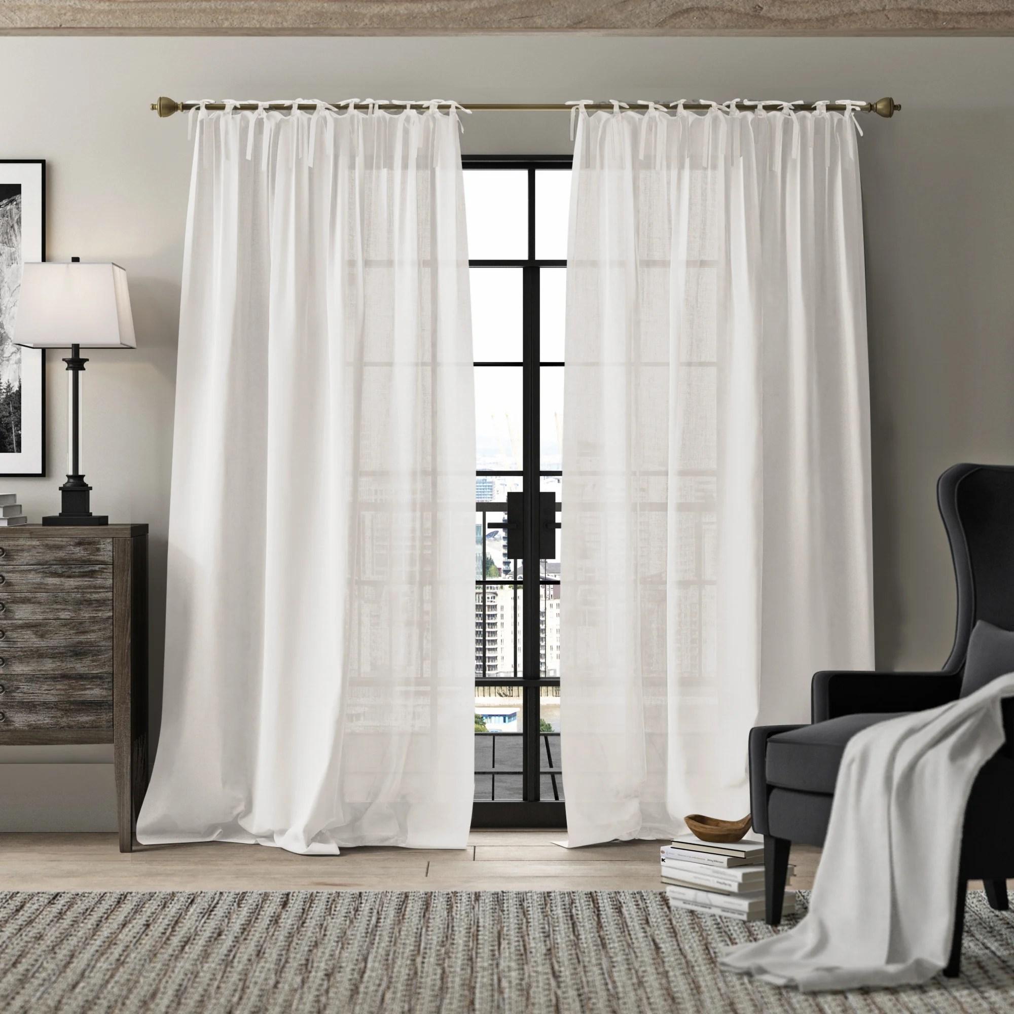 dungannon belgian flax linen tie top pinch pleat solid semi sheer tab top single curtain panel