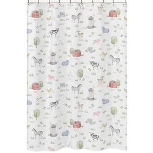 farm animals cotton floral single shower curtain