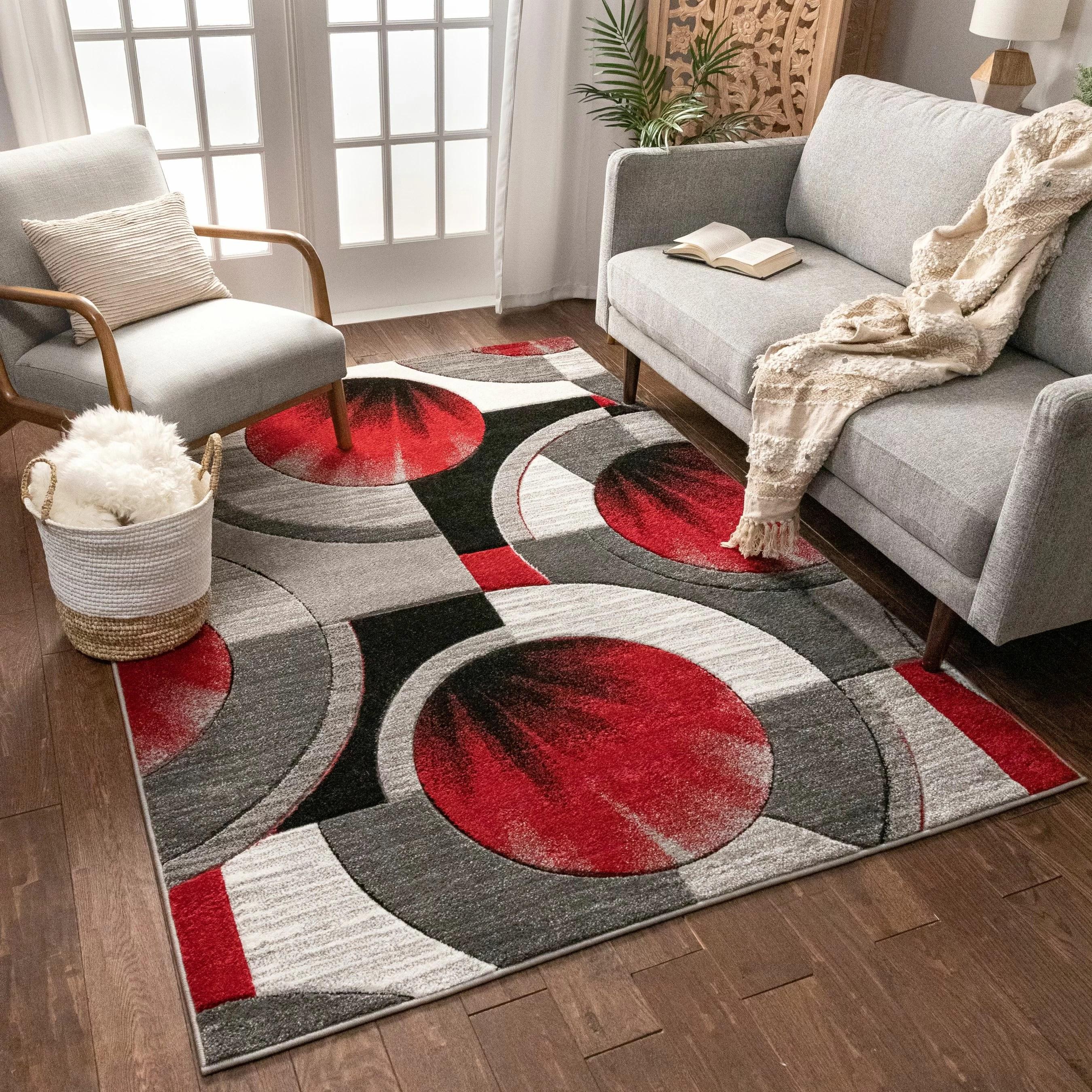tapis rouge gris tisse a la machine yolo